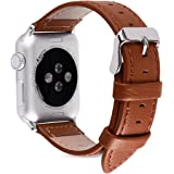 5 Colors for Apple Watch Bands 42mm, Fullmosa Jan Lichi Calf Leather Replacement Band/Strap with Stainless Steel Clasp for Apple iWatch Series 1 2 3 Sport and Edition Versions 2015 2016 2017,Brown