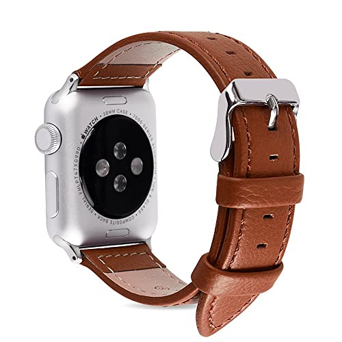 Apple Watch Bands 38mm, Fullmosa Jan Series Lichi Calf Leather Replacement Band/Strap with Stainless Steel Clasp for Apple iWatch Series 1 & 2 Sport and Edition Versions 2015 2016,Brown