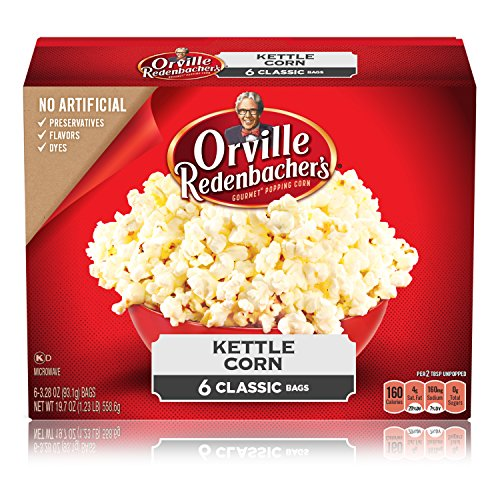 Orville Redenbacher's Kettle Corn Microwave Popcorn, 3.28 Ounce Classic Bag, 6-Count, Pack of 6