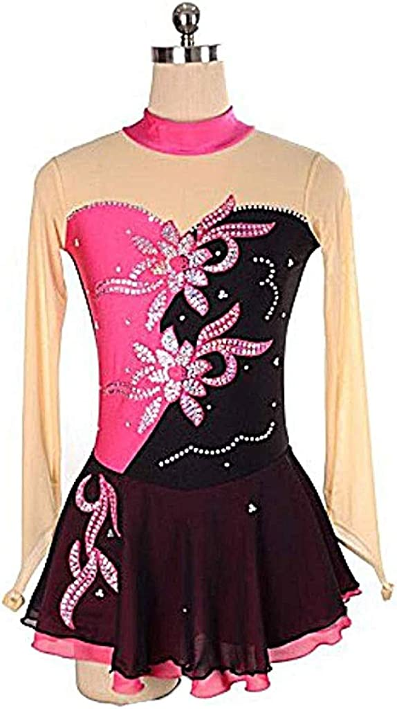 フィギュアスケートドレス、女性と女の子のアイススリーブドレス競争スパンコール長袖スケートドレスピンク ピンク S