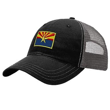4864e73a970143 Trucker Hat Richardson Arizona State Flag Embroidery Country Name Cotton  Soft Mesh Cap Snaps - Black