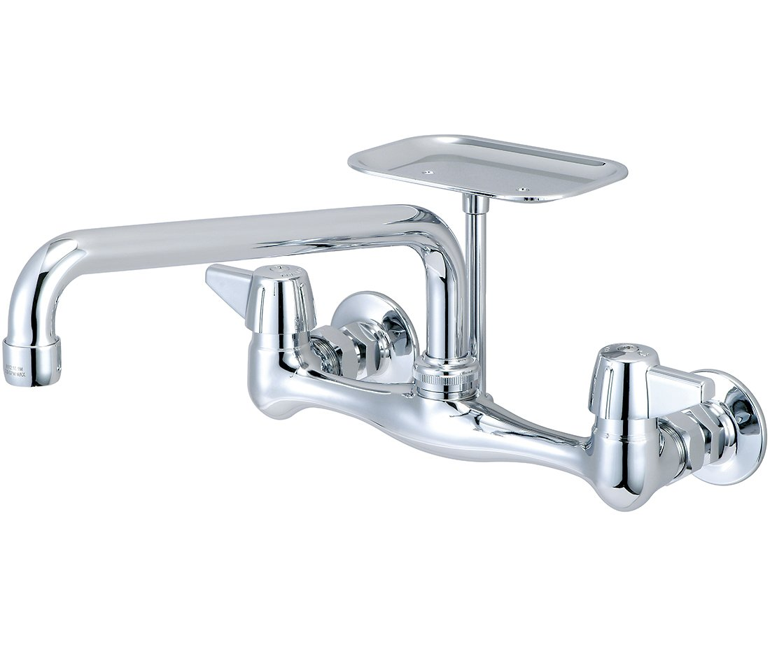 Central Brass 0048-UA Solid Cast Brass 2-Canopy Swivel Wall-Mount Sink Faucet