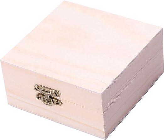 WOVELOT Caja de Joyas de Madera sin terminar para niños, Bricolaje ...
