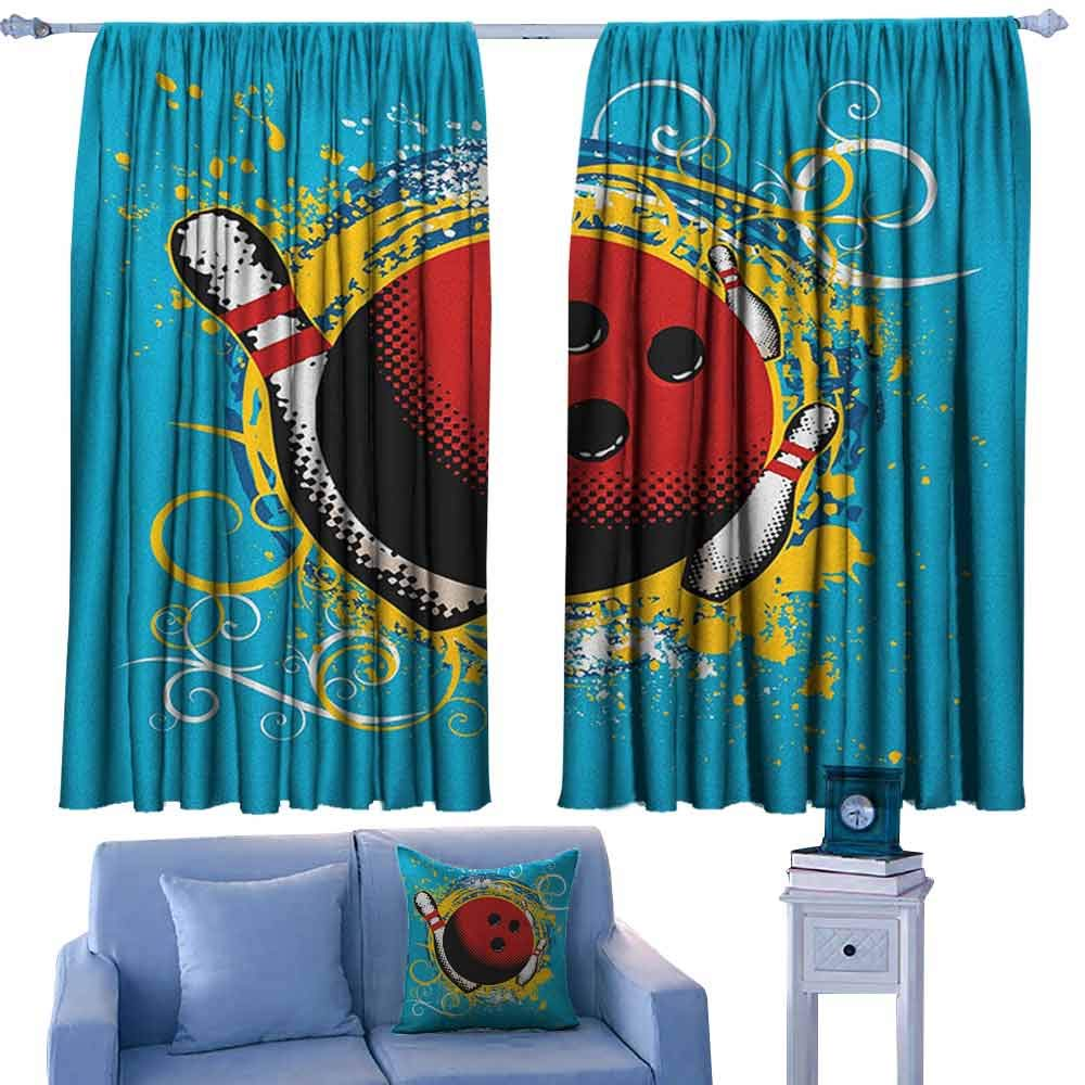 ParadiseDecor Bowling Party Rods Curtains Fun Hobby Retro Style Ball Floral Swirls with Color Splashes Pop Art,Blackout Drapes for Living Room,W52 x L72 Inch by ParadiseDecor
