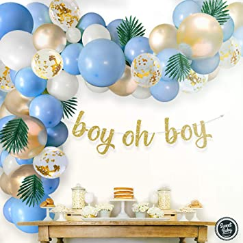 ITS A BOY Paper Garland /& 10x Latex Balloons Christening Baby Shower Party