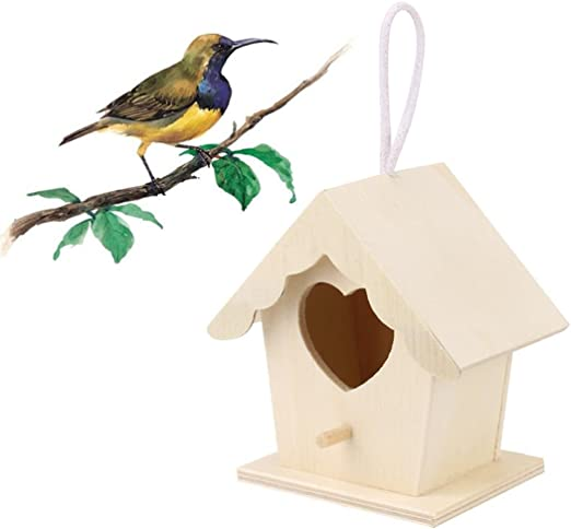 Wooden Bird House Keepwin Diy Crafts Unfinished Natural Wood