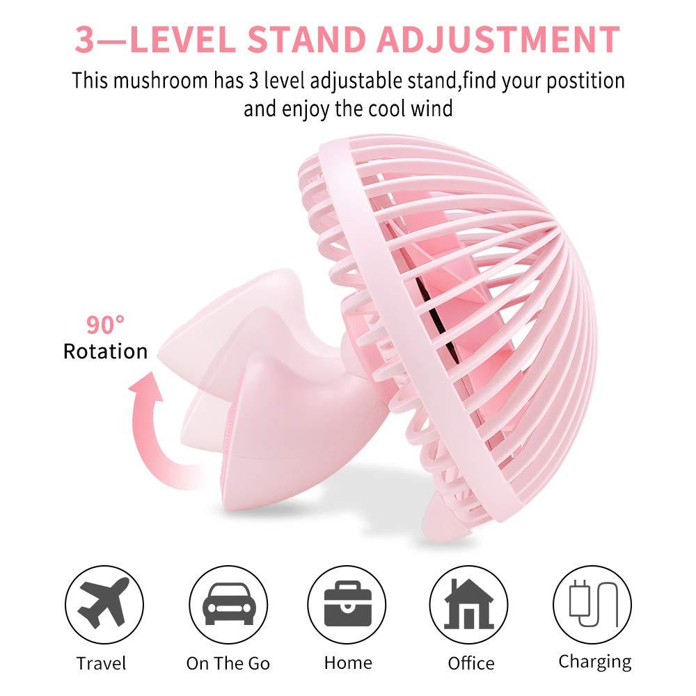 LBTbate Mini Desk Fan, Portable USB Fan Office&Desktop, Small Personal Cooling Fan, Mushroom Design Fan Table Desktop Electric Fan for Office Home Outdoor (Pink)