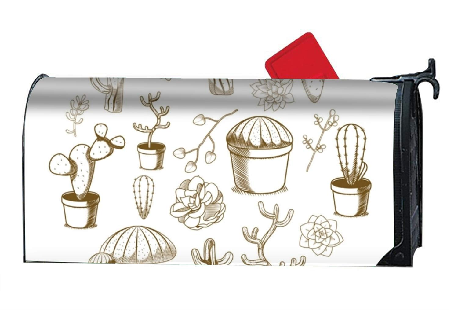 MAYS Succulent and Cactus - Mailbox Makeover Cover - Vinyl with Magnetic for Standard Mailbox