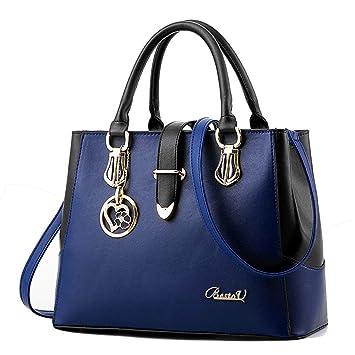 bb9e4f9ea28b1 BestoU Damen Handtaschen Schwarz groß taschen Leder moderne damen handtasche  gross schultertasche Frauen Umhängetasche (Blau