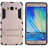 Heartly Graphic Designed Stand Hard Dual Rugged Armor Hybrid Bumper Back Case Cover For Samsung Galaxy A7 2015 SM-A700F - Mobile Gold