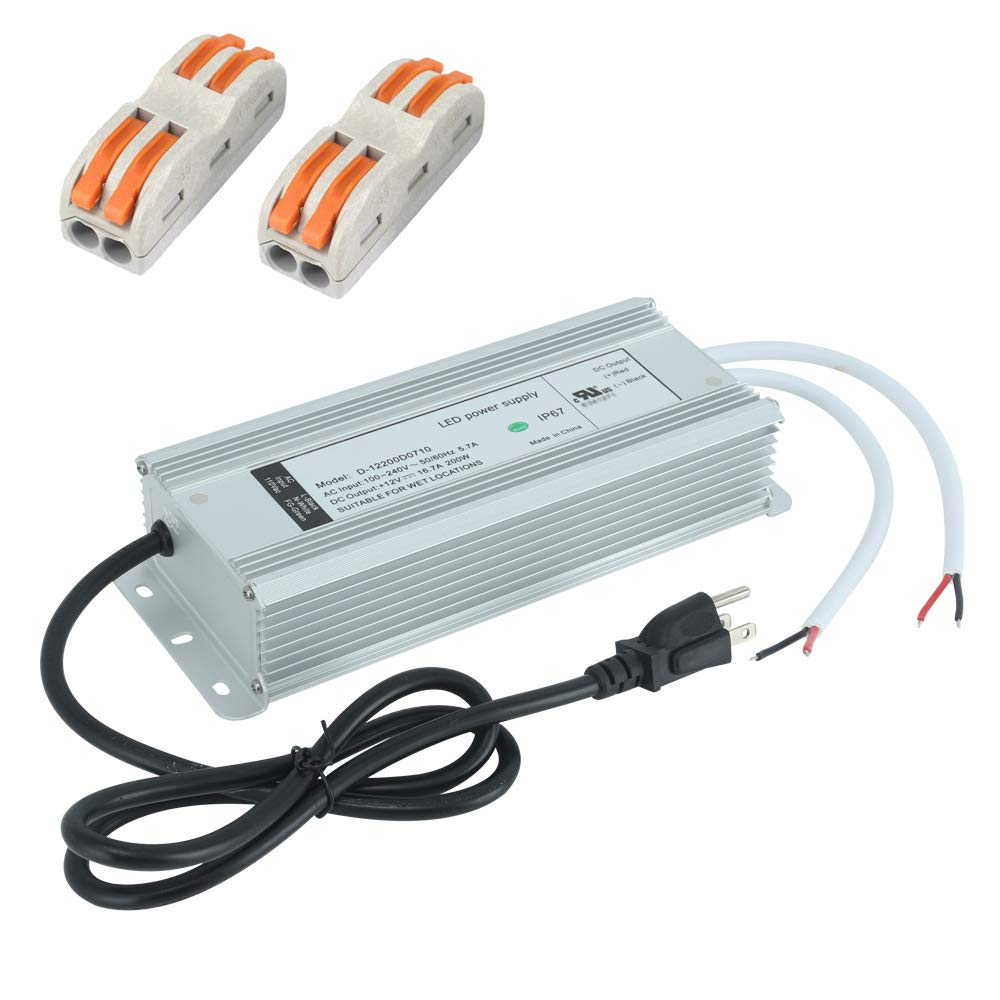 (UL Listed) LED Driver 12V 200 Watt IP67 Waterproof Low Voltage Transformer, 12V Power Supply with 3 Prong AC Plug, 120V AC to 12V DC Outdoor Power Supply 12 Volt Converter by Enersystec