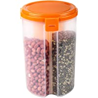SS Ecom Plastic 3 Section Airtight Food Storage Container for Kitchen, Multi-Spaces Cereal Dispenser Storage Containers with Dividers - 50 oz (1500 ML), Orange