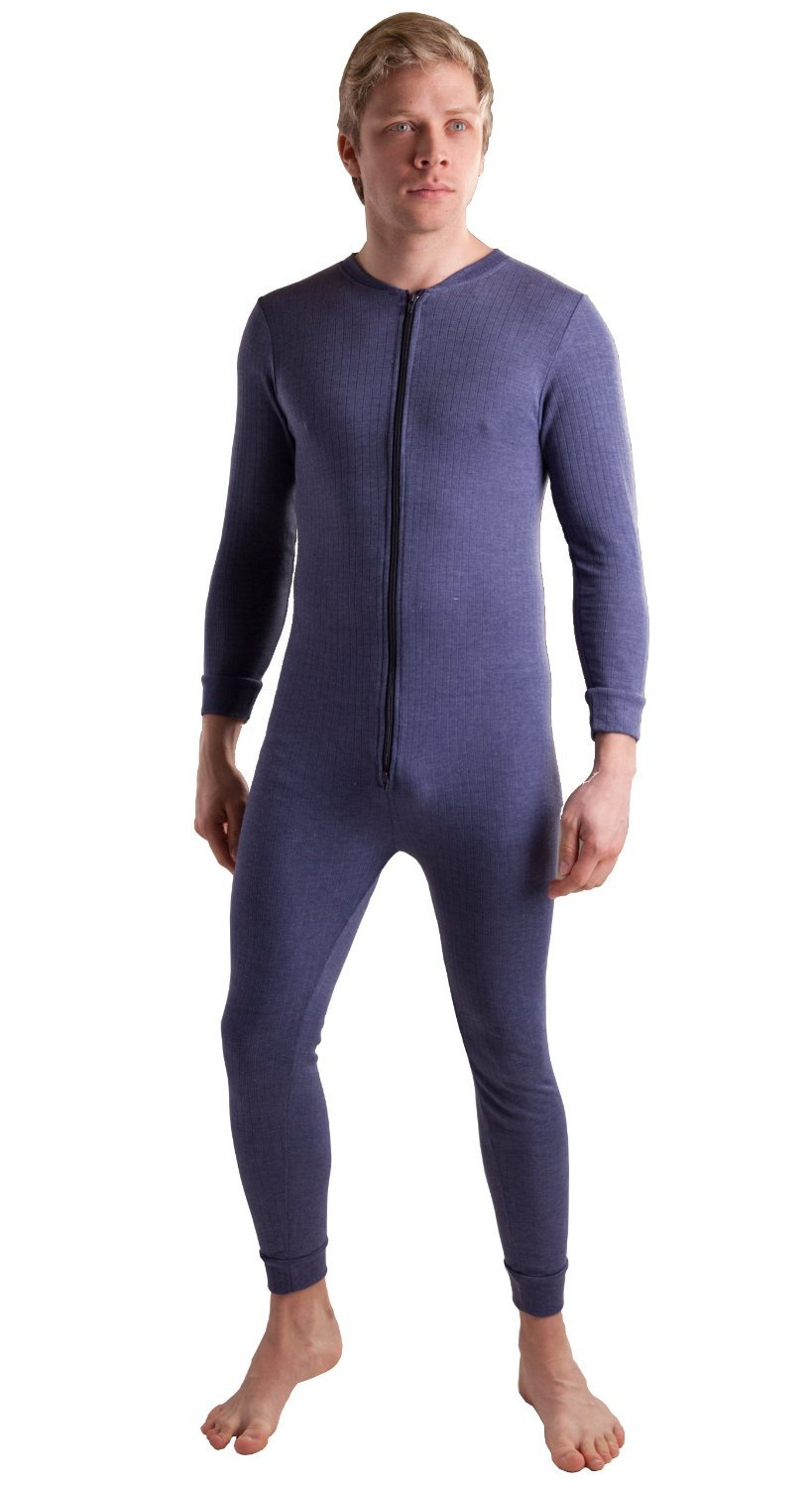 Octave Mens Thermal Underwear All in One Union Suit with Zipped Back Flap (Medium: Chest 36-38 inches, Charcoal) by Octave