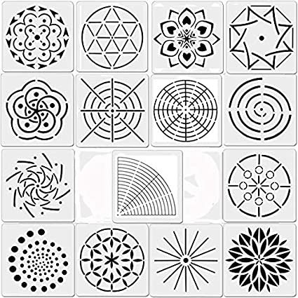 Amazon com: 15 Pcs Mandala Dotting Stencils, Mandala Dot