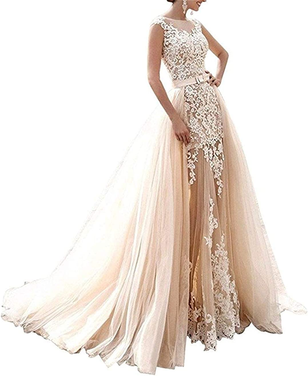 CharmingBridal Womens Short Wedding Dresses Tulle Lace Bridal Gowns