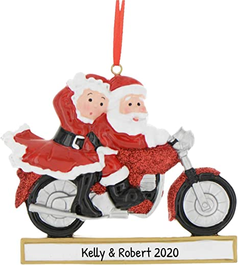 Personalized Motorcycle Mr Mrs Santa Claus Christmas Tree Ornament 2020 Speed Lover Couple New Chopper Sport First Bike Cycling Profession Hobby Activity Bicyclist Gift Year Free Customization Kitchen