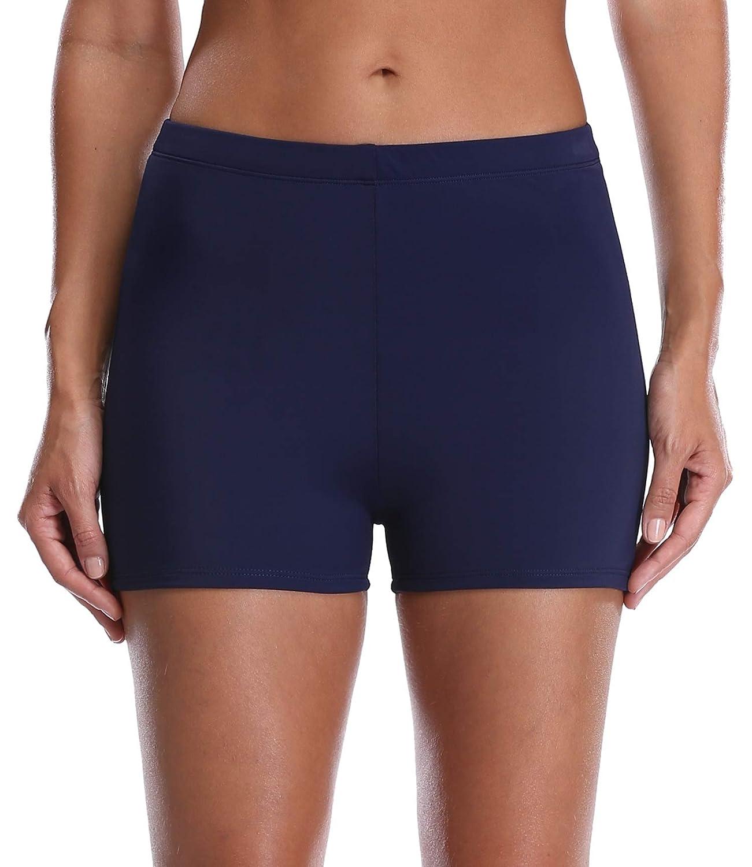 3cd0fe272a800 Amazon.com: ATTRACO Women's Solid Color Tankini Boyleg Swim Bottom Board  Swim Shorts: Clothing