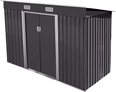 4.2' x 9.1' Large Outdoor Backyard Garden Storage Sturdy Shed Utility Tool Organizer w/Inclined Roof, Lockable Sliding Door, Vents, Stable Base - Dark Grey