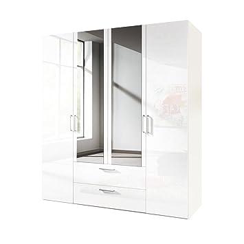 express mobel kleiderschrank 4 turig 200 cm mit spiegel weiss hochglanz lack korpus polarweiss