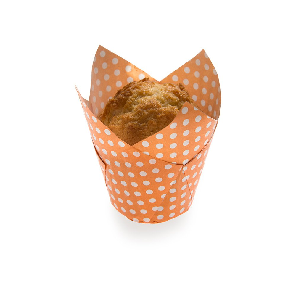 Panificio Premium 1.7-oz Baking Cups: Tall-Petal Paper Baking Cups Perfect for Muffins, Cupcakes or Mini Snacks - Hot Orange Polka Dot Print Design - Disposable and Recyclable - 200-CT