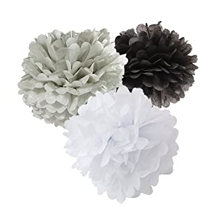12pcs White Grey Black Tissue Paper Pom Pom Tissue Paper Balls Hanging Party Decoration Paper Flower Ball Decoration Tissue Ball Paper Decoration for Baby Shower Nursery Decor Party Favors