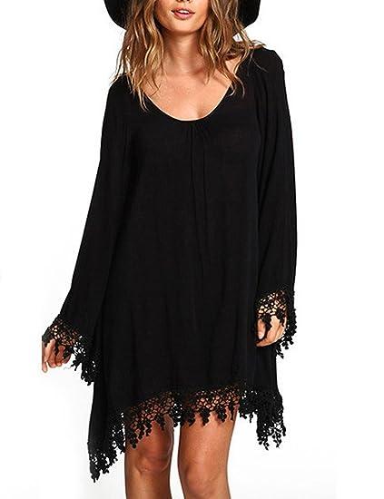 01b76859b0b MAZORT Women s Plus Size T Shirt Dresses Casual Loose Long Sleeve Tassel Edge  Dress at Amazon Women s Clothing store