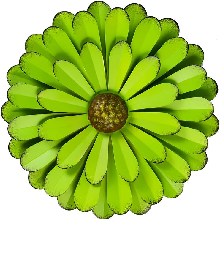 """Large 12"""" Green Metal Flower Wall Decor,Flower Art Wall Hanging for Home Bedroom Garden Patio"""
