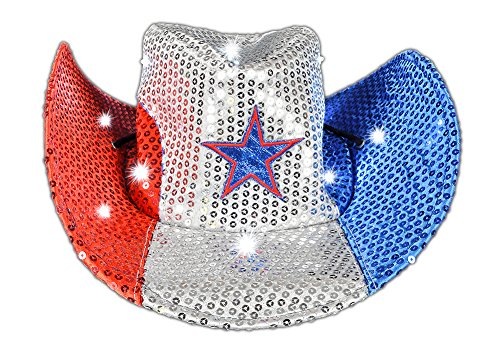 [Adult's Patriotic July 4th Independence Light Up Cowboy Hat Costume Accessory] (Light Up Costumes For Adults)