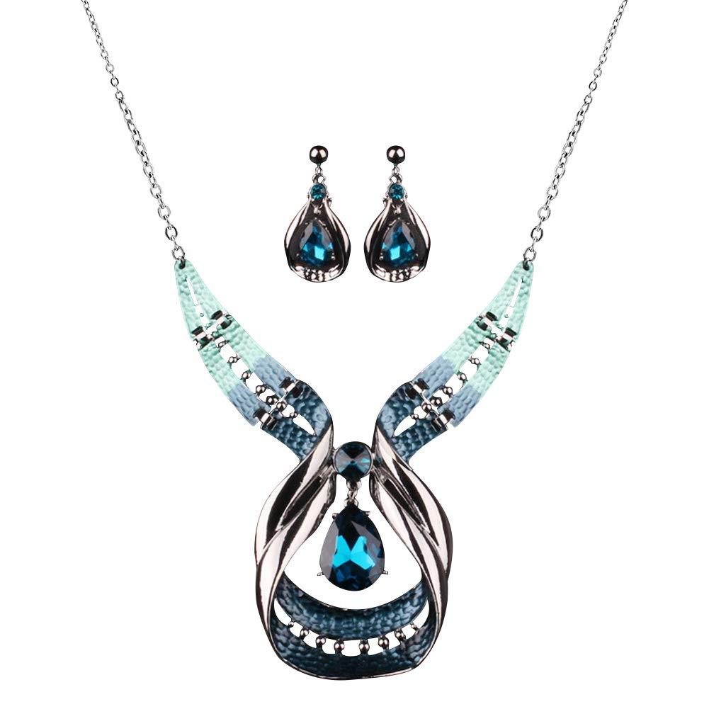 Diamondo Crystal Choker Chunky Statement Pendant Bib Necklace Earring Jewelry Set B01N0Q9JZ0_US