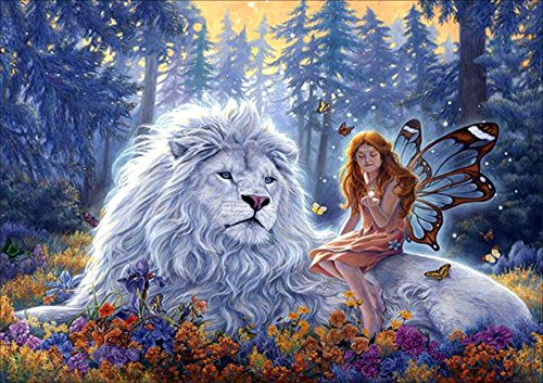 DIY 5D Full Diamond Painting by Number Kits, Crystal Rhinestone Diamond Embroidery Paintings Pictures Arts Craft for Home Wall Decor (Beauty and Beast) by QC Style