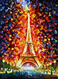 Paris Eiffel Tower Lighted is a Limited Edition print from the Edition of 400. The artwork is a hand-embellished, signed and numbered Giclee on Unstretched Canvas by Leonid Afremov. Embellishment on each of these pieces will be slightly different, bu...