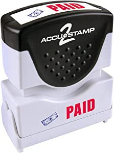 "ACCU-STAMP2 Message Stamp with Shutter, 2-Color, PAID, 1-5/8"" x 1/2"" Impression, Pre-Ink, Blue and Red Ink (035535)"