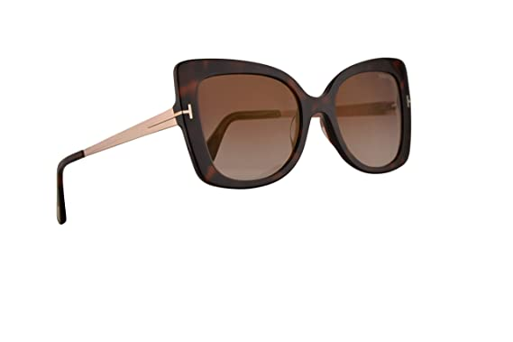25063b2216a Image Unavailable. Image not available for. Color  Tom Ford FT0609  Gianna-02 Sunglasses Dark Havana w Brown Mirror ...