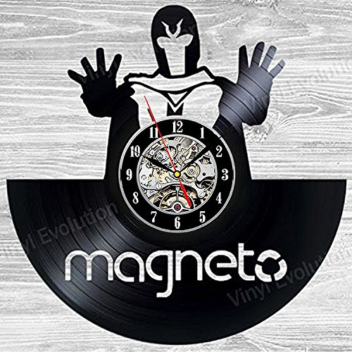 Marvel Comic Collection Magneto Vinyl Record Wall Clock - Decorate your home with Modern X-Men Art - Best gift for man, woman, boyfriend and girlfriend - Win a prize for feedback