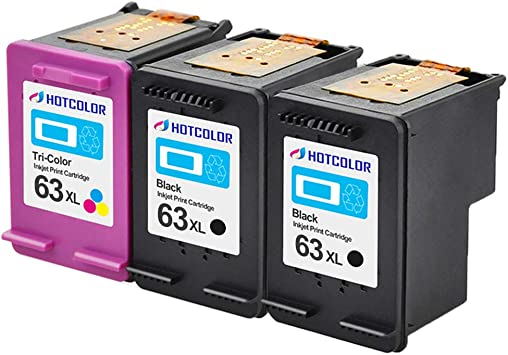 2 Pack for 63 XL Black Color Ink Cartridge For HP Officejet 3830 3832 4650 4652