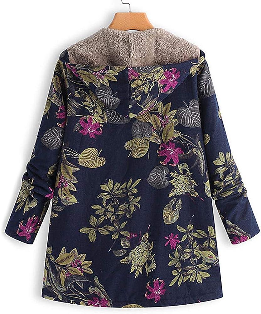 Onsoyours Cappotto Donna Elegante Felpe Basic Giacca con Cappuccio Stampa Floreale Vintage Cappotti Autunno Inverno Zip Taglie Forti Tops