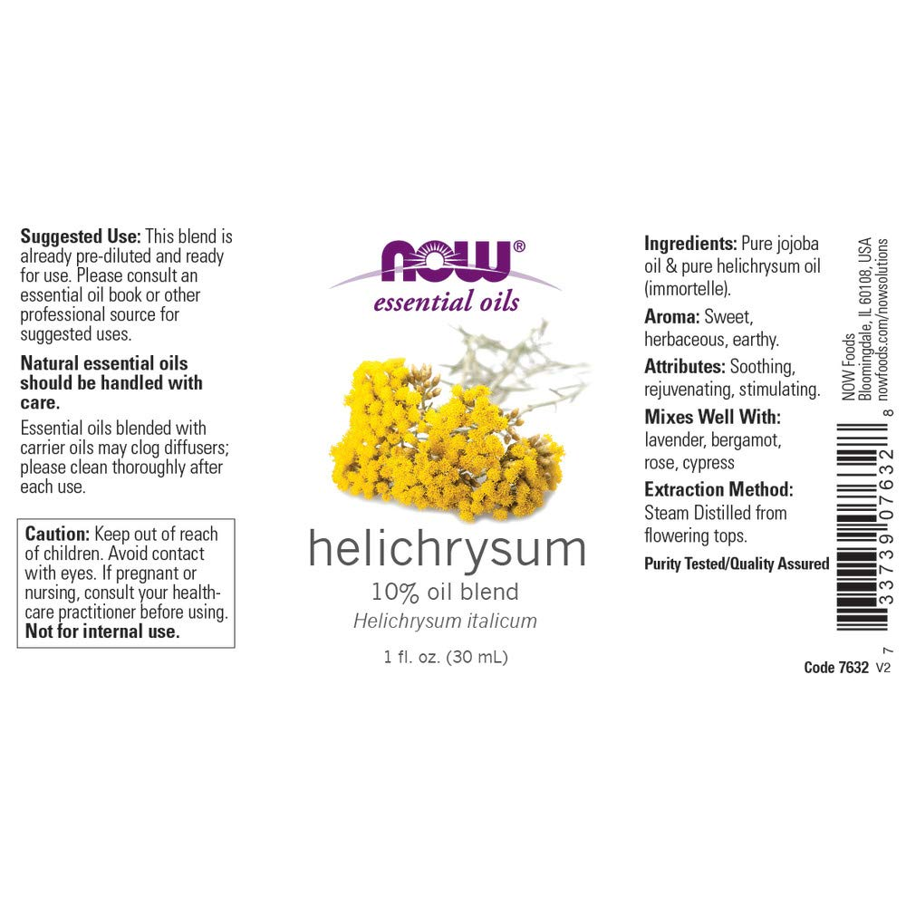 Now Essential Oils, Helichrysum Oil Blend, Soothing Aromatherapy Scent,  Steam Distilled, 100%