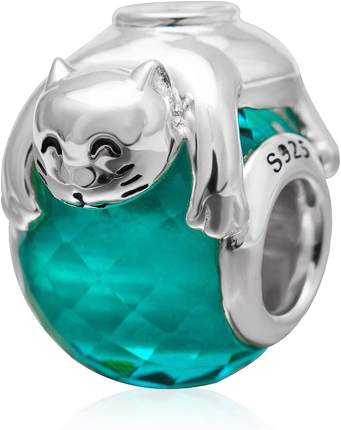 Cute Cat Animal Charm Original 925 Sterling Silver Green Glass Faceted Charm for Charms Bracelet