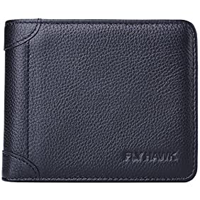 FlyHawk Italian Cowhide Men's RFID Blocking Genuine Leather wallets for Men Bifold Wallet
