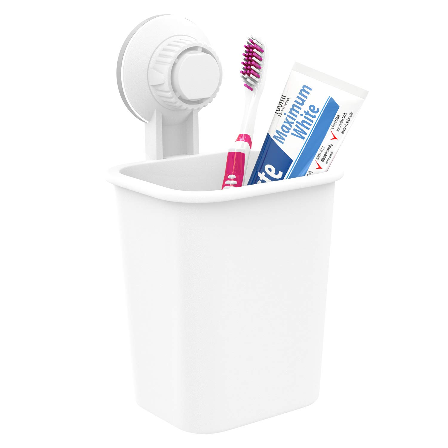 Luxspire Toothbrush Holder with Suction Cup, Toothpaste Stand Toothbrush Storage Organizer Wall Mounted for Bathroom - White