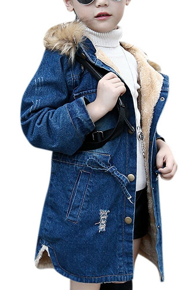 Luodemiss Big Kids Girls Fleece Lined Hooded Warm Winter Thicken Coat Midi Denim Cowboy Jacket (10-11 Years, Blue)