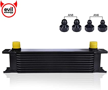 19 Row AN-8// 8AN Engine Oil Cooler w// Nylon Oil Lines Filter Adapter Kit Black