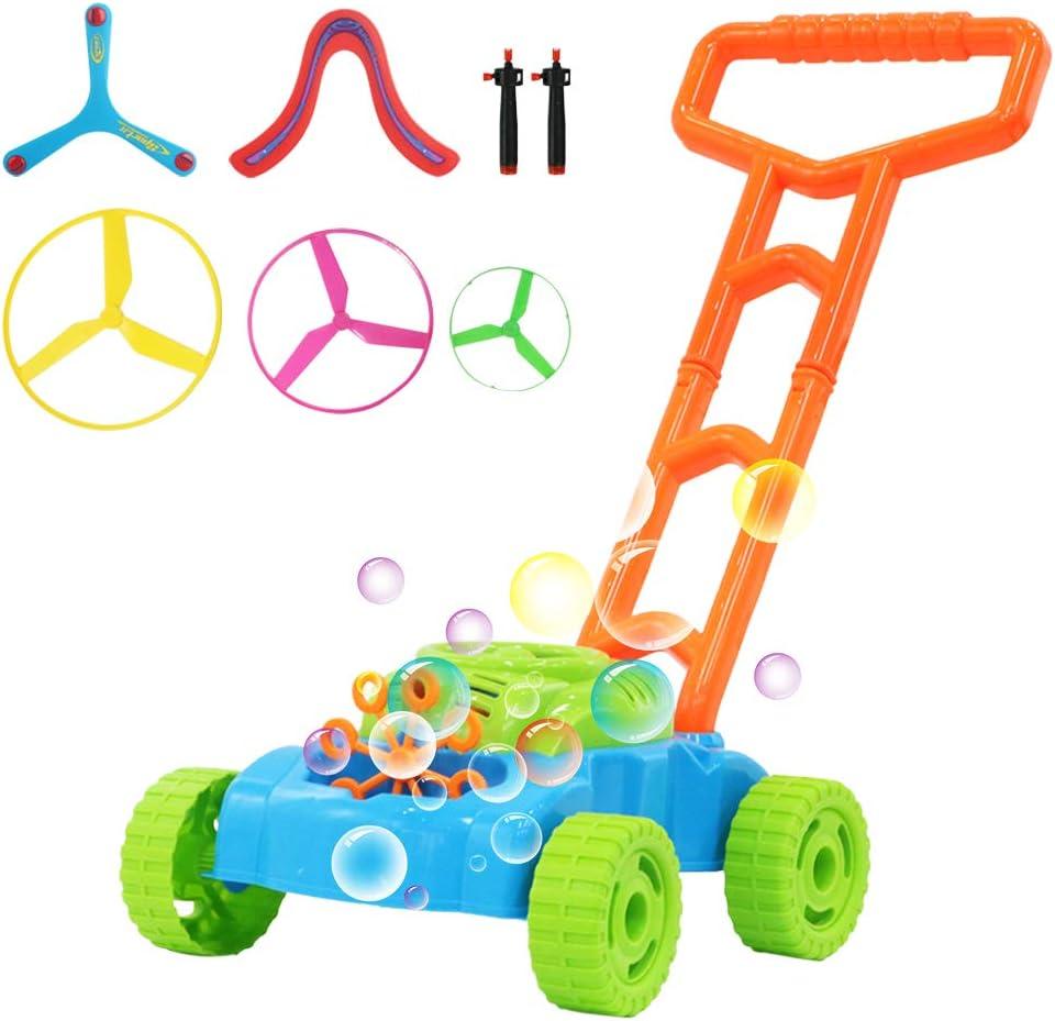 deAO Juego de Jardinería con Maquina de Burbujas Integrada Conjunto 2en1 Cortacésped de Juguete con Pompas de Jabón Juegos Infantiles y en Familia al Exterior