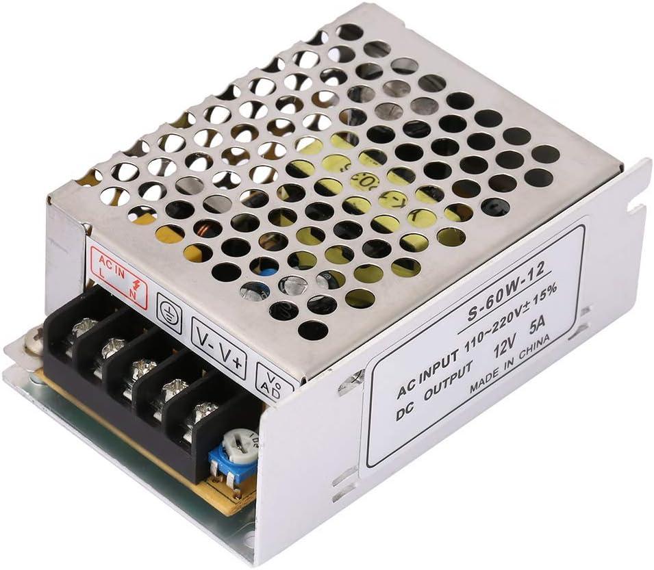 Fuente de alimentaci/ón estabilizada para tira de bobina de LED switch recortadora AC 100 V ~ 240 V DC 12 V 5 A 60 W Clase de eficiencia energ/ética A