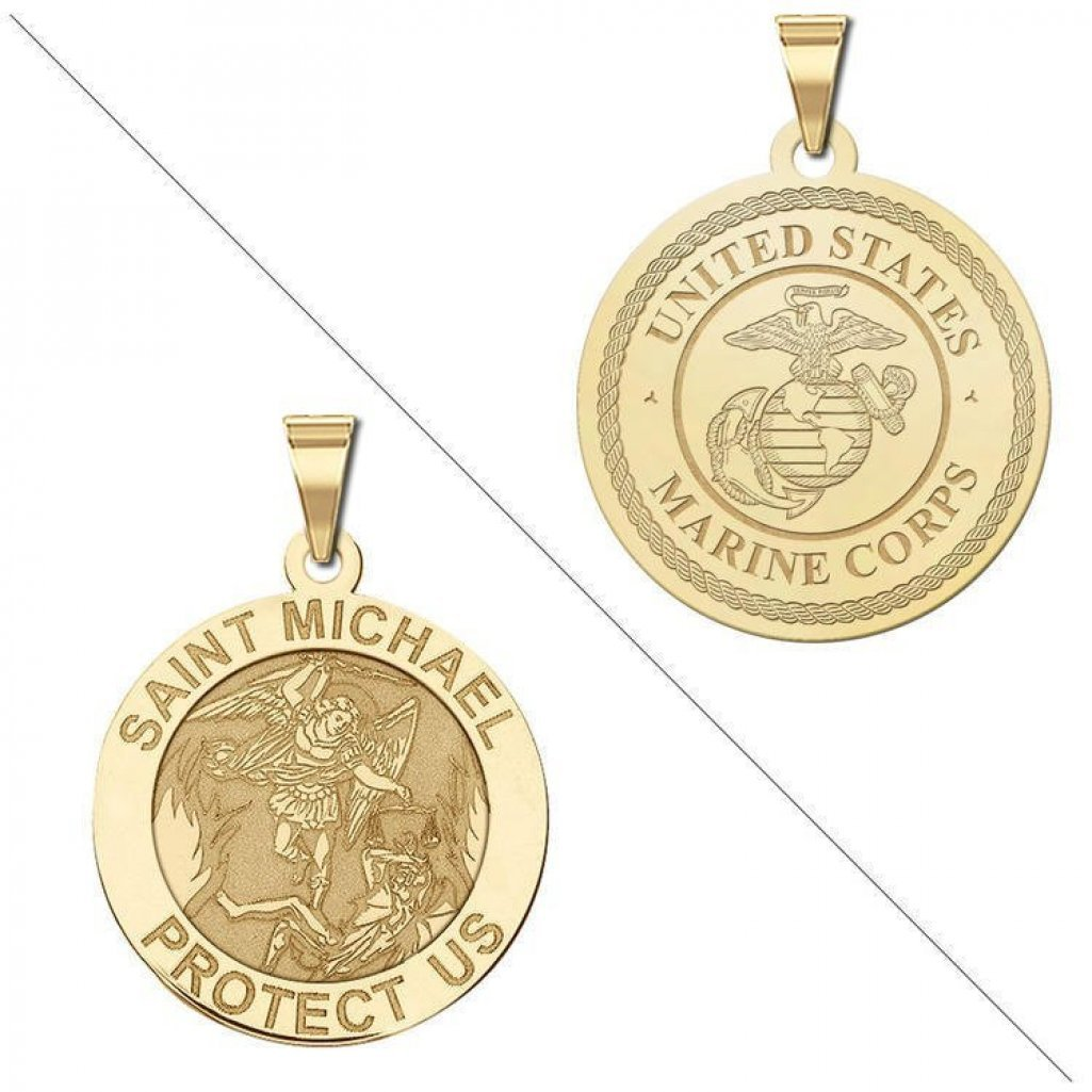 Saint Michael Doubledside MARINES Religious Medal - 3/4 Inch Size of a Nickel - Solid 14K Yellow Gold