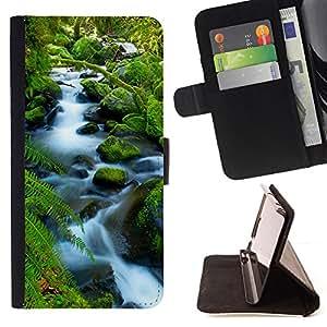 BullDog Case - FOR/Sony Xperia m55w Z3 Compact Mini / - / Waterfall Beautiful Timelapse /- Monedero de cuero de la PU Llevar cubierta de la caja con el ID Credit Card Slots Flip funda de cuer