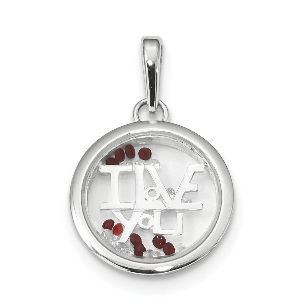 Sterling Silver Rhodium-plated I Love You & Floating Glass Beads Pendant