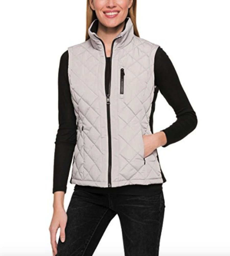 Andrew Marc Ladies' Quilted Vest (Cement (Gray), XX-Large)