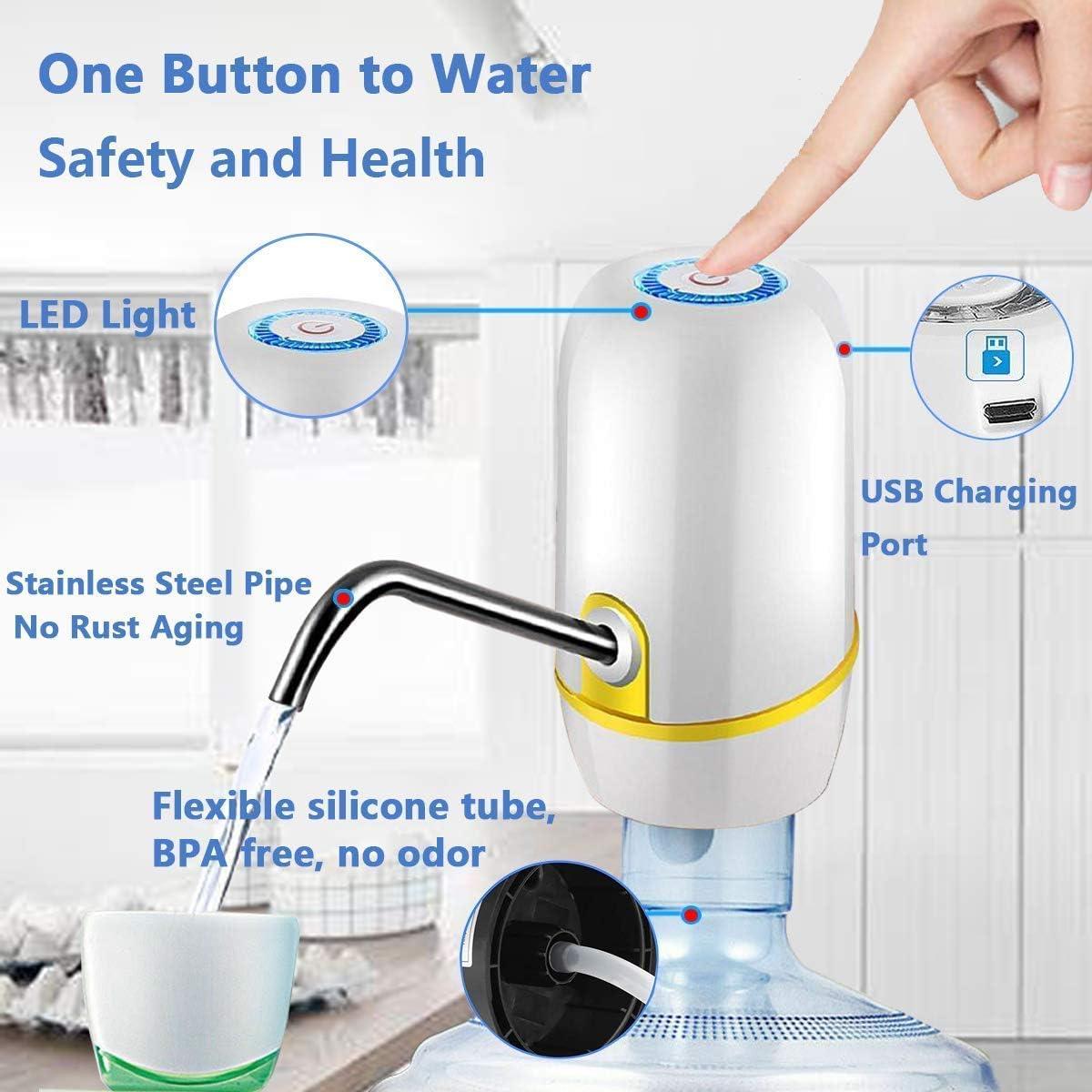 Distributeur automatique deau potable Pompe /à bouteille deau /électrique avec chargeur USB Dur/ée de vie de la batterie de 30 jours