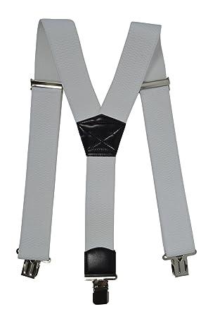 Bretelles XXL entièrement réglable Extra Fort avec 3 Clips, Tissu épais -  5cm. Blanc d7bc91bd1190